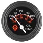 06344-01 Oil Temperature Gauge, 100-240F, Black