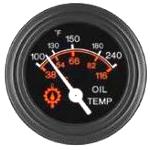 06344-01 Oil Temperature Gauge, 100-240F, Black